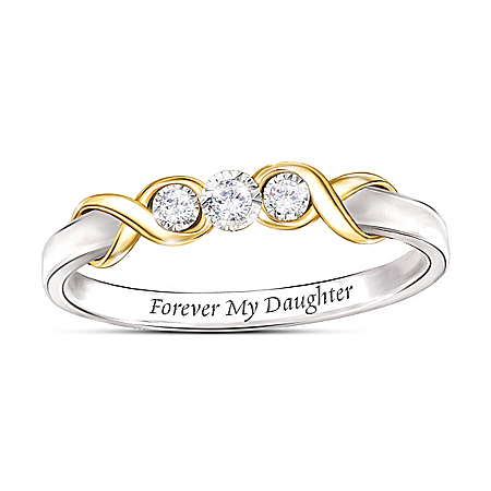 Forever Our Daughter Diamond Sterling Silver Ring