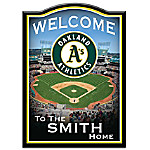 Welcome Sign - Oakland Athletics Personalized Family Welcome Sign