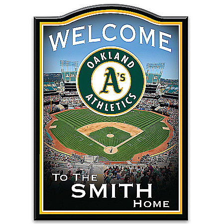 Welcome Sign: Oakland Athletics Personalized Family Welcome Sign