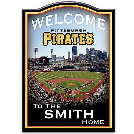MLB Pittsburgh Pirates Personalized Wall-Hanging Wooden Welcome Sign