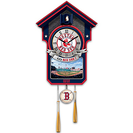 Officially Licensed Boston Red Sox Baseball Cuckoo Clock