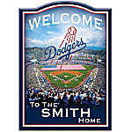 Welcome Sign: Los Angeles Dodgers Personalized Family Welcome Sign