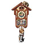 Happy Trails Cuckoo Clock With Kitten Art By Jurgen Scholz