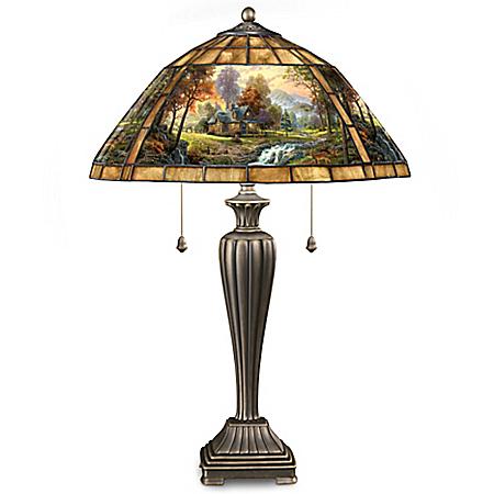Thomas Kinkade Mountain Retreat Stained Glass Table Lamp