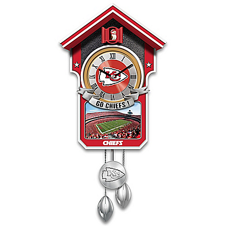 NFL-Licensed Kansas City Chiefs Football Wall Cuckoo Clock