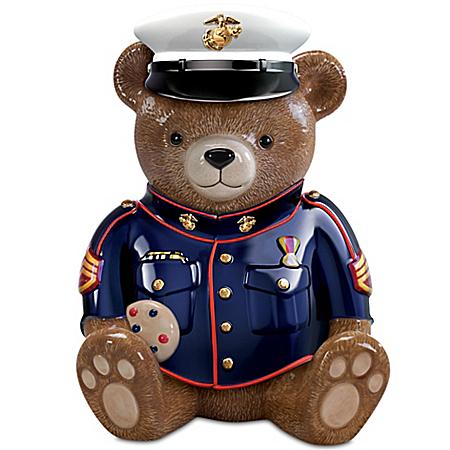 Collectible Teddy Bears USMC Semper Fi Sweet Salute Collectible Teddy Bear Cookie Jar