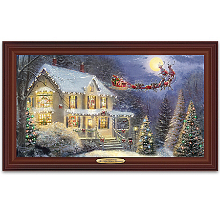 Thomas Kinkade The Night Before Christmas Illuminated Canvas Print Wall Decor With Narration