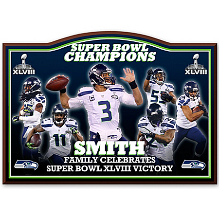 Wall Decor: Commemorative Plaque Seattle Seahawks Super Bowl XLVIII Personalized Wall Decor 120209001