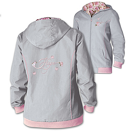 Blossoming Hope Breast Cancer Support Embroidered Hooded Water Resistant Jacket