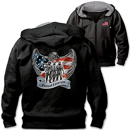 Veterans Pride And Brotherhood Men's Hoodie With Vietnam War Memorial Patch 120213001