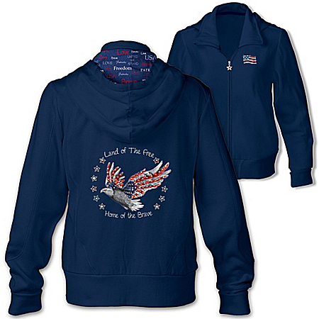 Star Spangled Sparkle American Flag Women's Hoodie