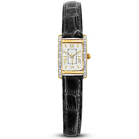 Enduring Classic Women's Designer Watch With Swarovski Crystals And Leather Band