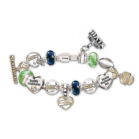 Bracelet: #1 Fan Seattle Seahawks Super Bowl Charm Bracelet With Genuine Swarovski Crystals