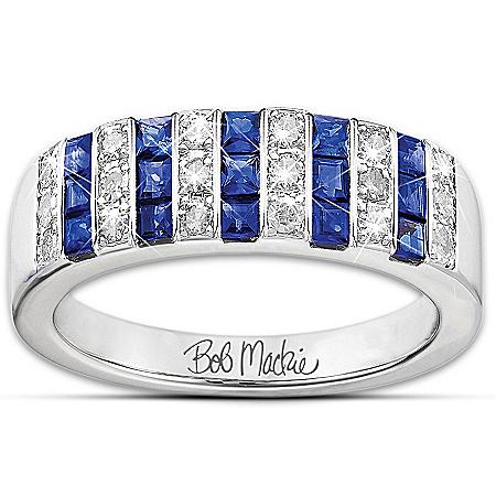 Ring: Bob Mackie Blue And Bold Diamonesk Women's Ring