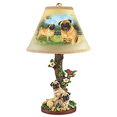 Linda Picken Playful Pugs Sculpture Lamp