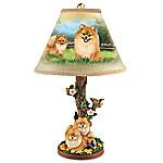 Linda Picken Pretty Pomeranians Handcrafted Accent Lamp