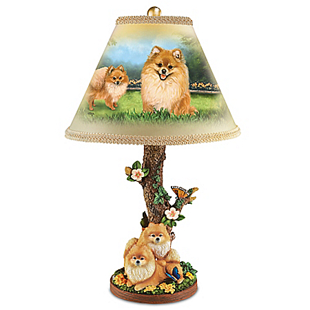 Linda Picken Pretty Pomeranians Handcrafted Accent Lamp