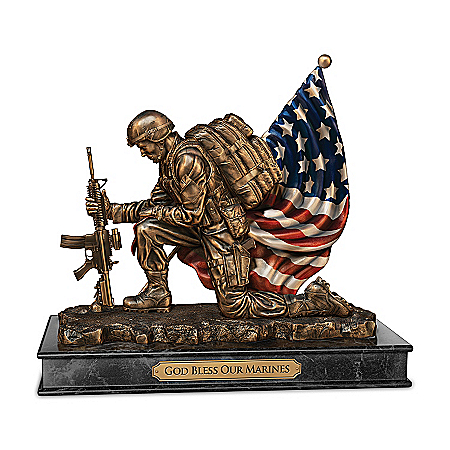 USMC God Bless Our Marines Cold-Cast Bronze Sculpture