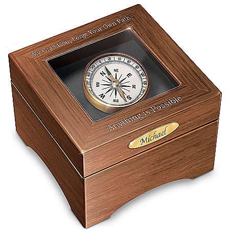 Grandson, Forge Your Path Personalized Musical Keepsake Box with Working Compass