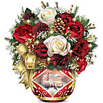 Thomas Kinkade Holiday Cheer Table Floral Arrangement Centerpiece