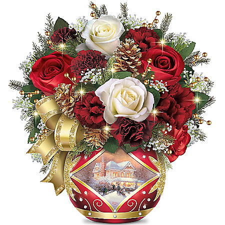 Thomas Kinkade Holiday Cheer Table Floral Arrangement Centerpiece