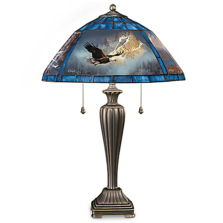 Ted Blaylock Soaring Guardians Louis Comfort Tiffany-Style Eagle Lamp