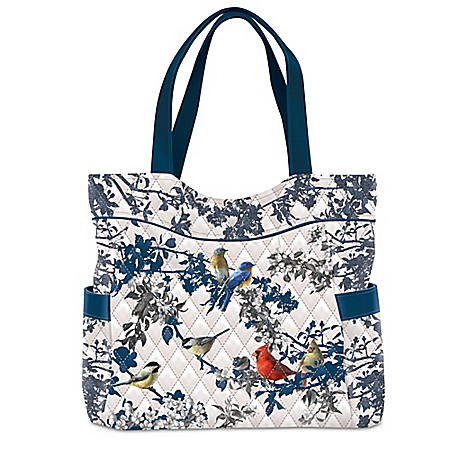 Songs Of Spring Quilted Tote Bag Featuring James Hautman Songbird Art