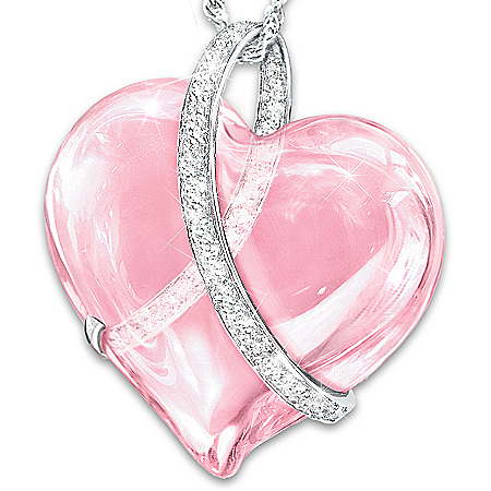 Light Of Hope Pendant Necklace With Rose-Colored Heart Crystal 120352001