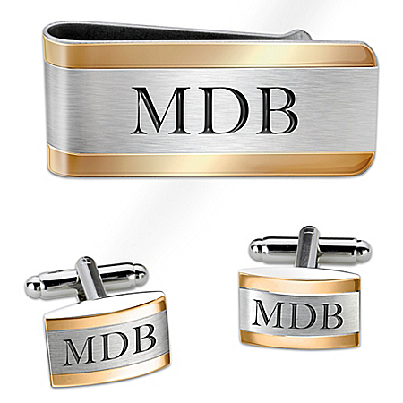Cuff Links And Money Clip Personalized Men's Accessory Set – Personalized Jewelry