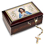 Music Box: Our Blessed Mother Heirloom Music Box And Golden Rosary