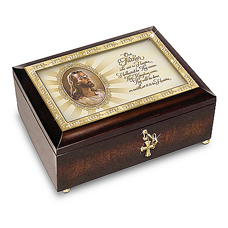 Music Box: The Lord's Prayer Heirloom Head Of Christ Warner Sallman Music Box