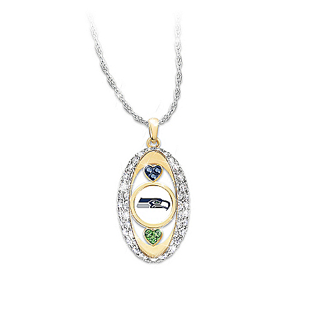 For The Love Of The Game Swarovski Crystal Seattle Seahawks Pendant Necklace