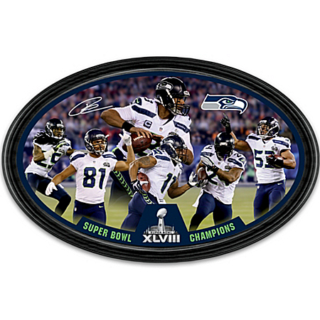 Collector Plate: Seattle Seahawks Super Bowl XLVIII Champions Oval Collector Plate 120378001