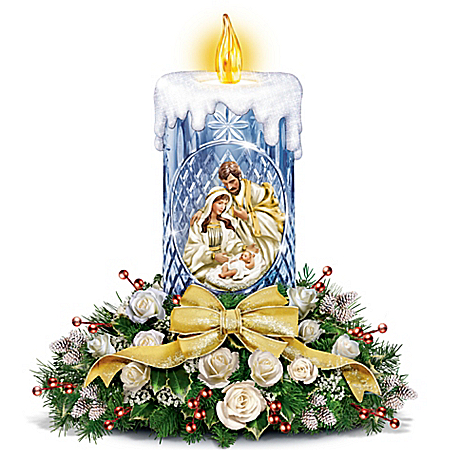 Thomas Kinkade True Meaning Of Christmas Nativity Floral Crystal Tabletop Centerpiece