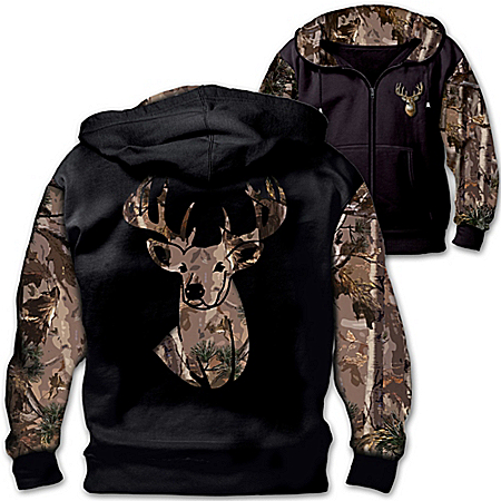 10-Point Buck Men's Zip Up Camo Hoodie
