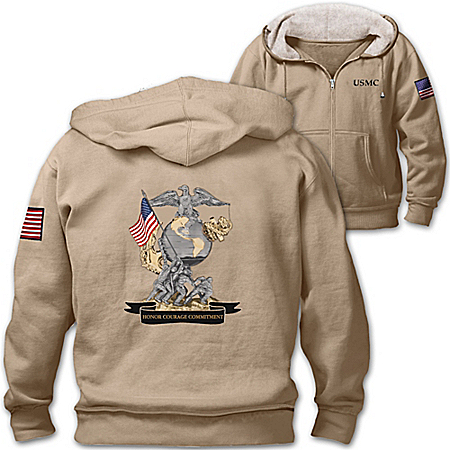 Always A Marine Men's Hoodie With United States Marine Corps Emblem