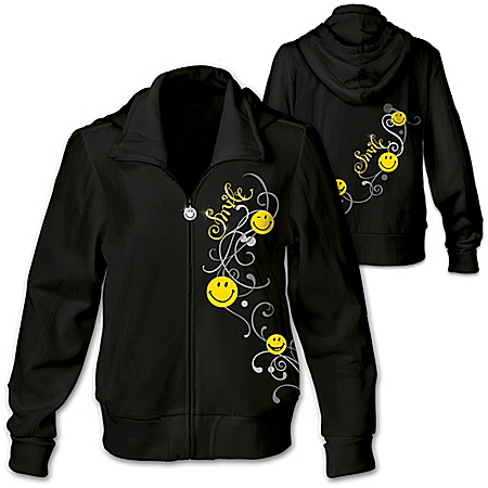 Put A Happy Smile On Your Face Women's Hoodie With Glitter And Scrollwork