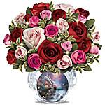 Thomas Kinkade Today, Tomorrow, Always Floral Table Centerpiece - Lights Up