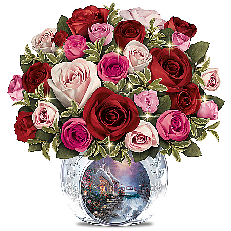 Thomas Kinkade Today, Tomorrow, Always Lighted Hand-Made Floral and Crystal Vase
