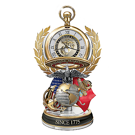 United States Marine Corps Semper Fi Pocket Watch With Fact Cards