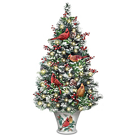 Winter's Beautiful Blessings Cardinal Art Illuminated Christmas Tabletop Tree