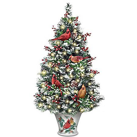 Winter's Beautiful Blessings Cardinal Art Illuminated Christmas Tabletop Tree