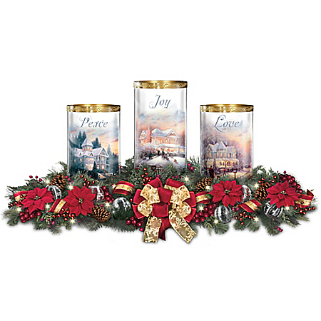 Thomas Kinkade Light Of The Season Holiday Table Centerpiece