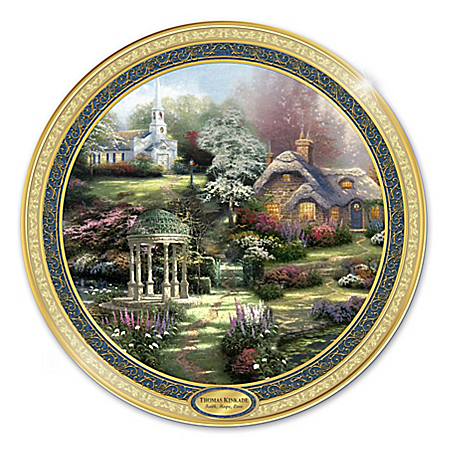 Thomas Kinkade Faith, Hope And Love Heirloom Porcelain Collector Plate