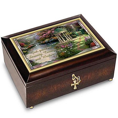 Thomas Kinkade Serenity Prayer Illuminated Glass Music Box