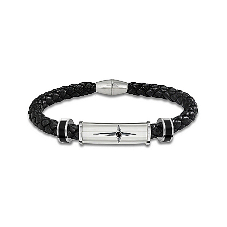 Bracelet: Protection And Strength For My Grandson Men's Leather And Steel Bracelet – Graduation Gift Ideas
