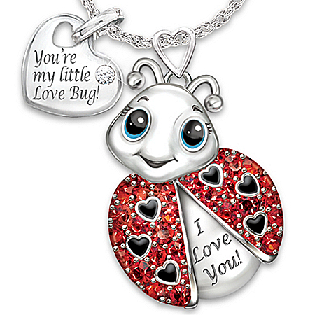 Granddaughter, You're Cute As A Bug Engraved Crystal Ladybug Pendant Necklace