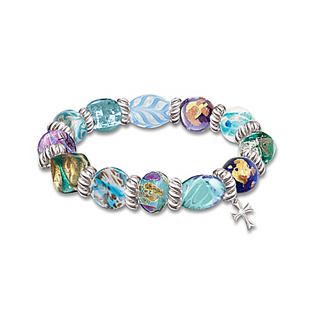 Wonders Of Faith Art-Glass Beaded Bracelet With Ellen M. Cuomo's: Faith Is