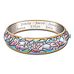 Mom's Garden Of Love Personalized Family Name Engraved Bangle Bracelet