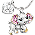 Granddaughter, Never Forget I Love You Engraved Elephant Pendant Necklace With Heart Charm